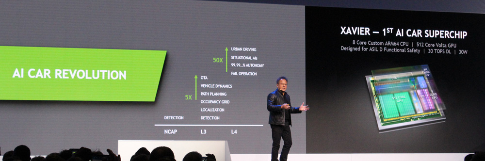 Nvidia CEO Huang on stage at Bosch event