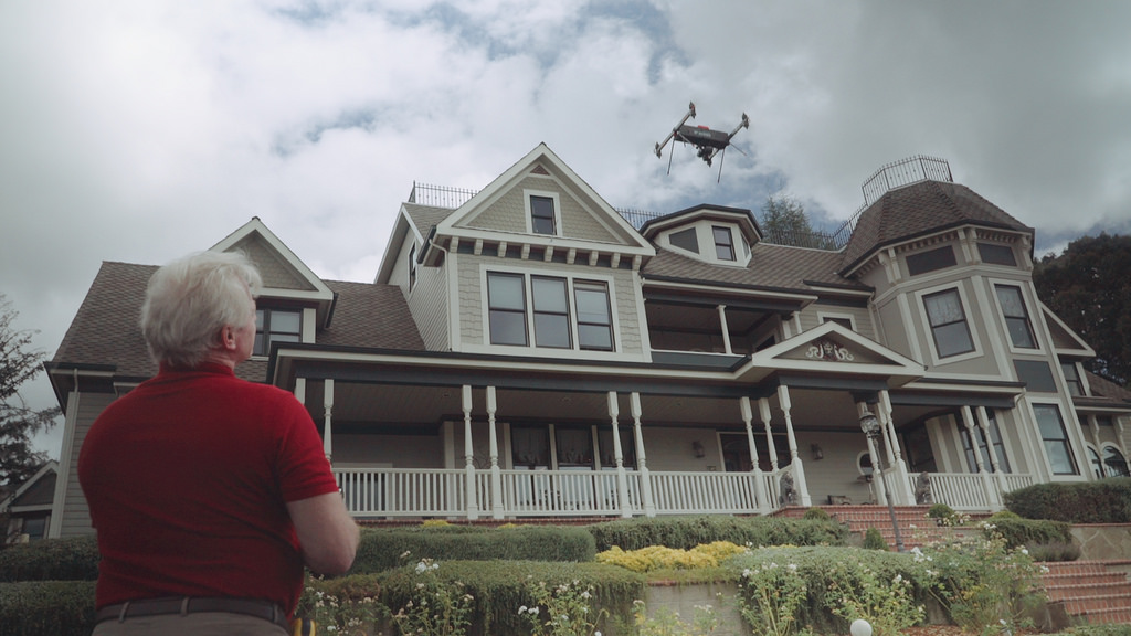 drone above house