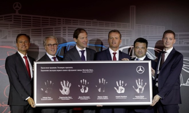 Ruess, von Fritsch, Manturov, Schaefer, Vorobyov and Bense attend a new Mercedes-Benz plant's cornerstone laying ceremony in the town of Esipovo outside Moscow