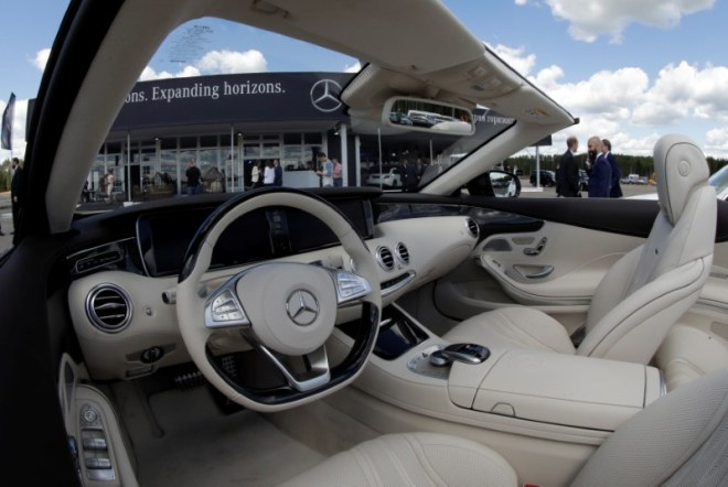 The interior of a Mercedes-Benz car is seen at a new Mercedes-Benz plant's cornerstone laying ceremony in the town of Esipovo outside Moscow