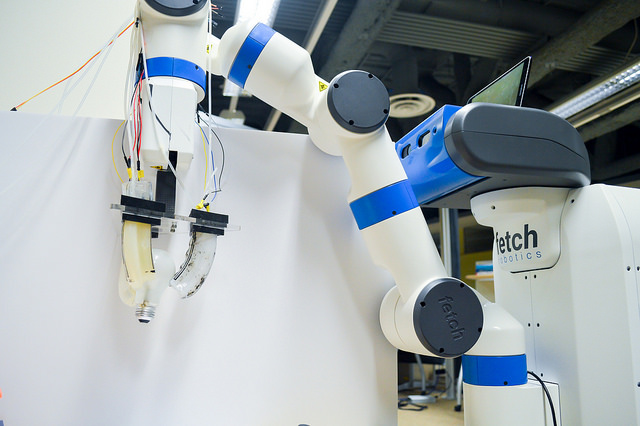 Robotic gripper soft enough to change light bulbs without breaking them