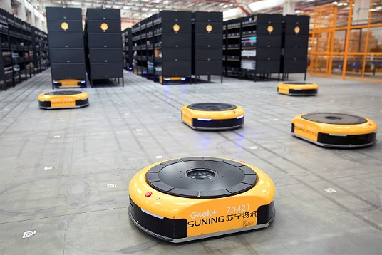 Suning launches 'basically unmanned' automated warehouse with plans to use 1,000 robots