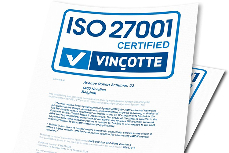 HMS received the ISO 27001 certification for eWon Talk2M