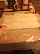 gluing the board together in the jig