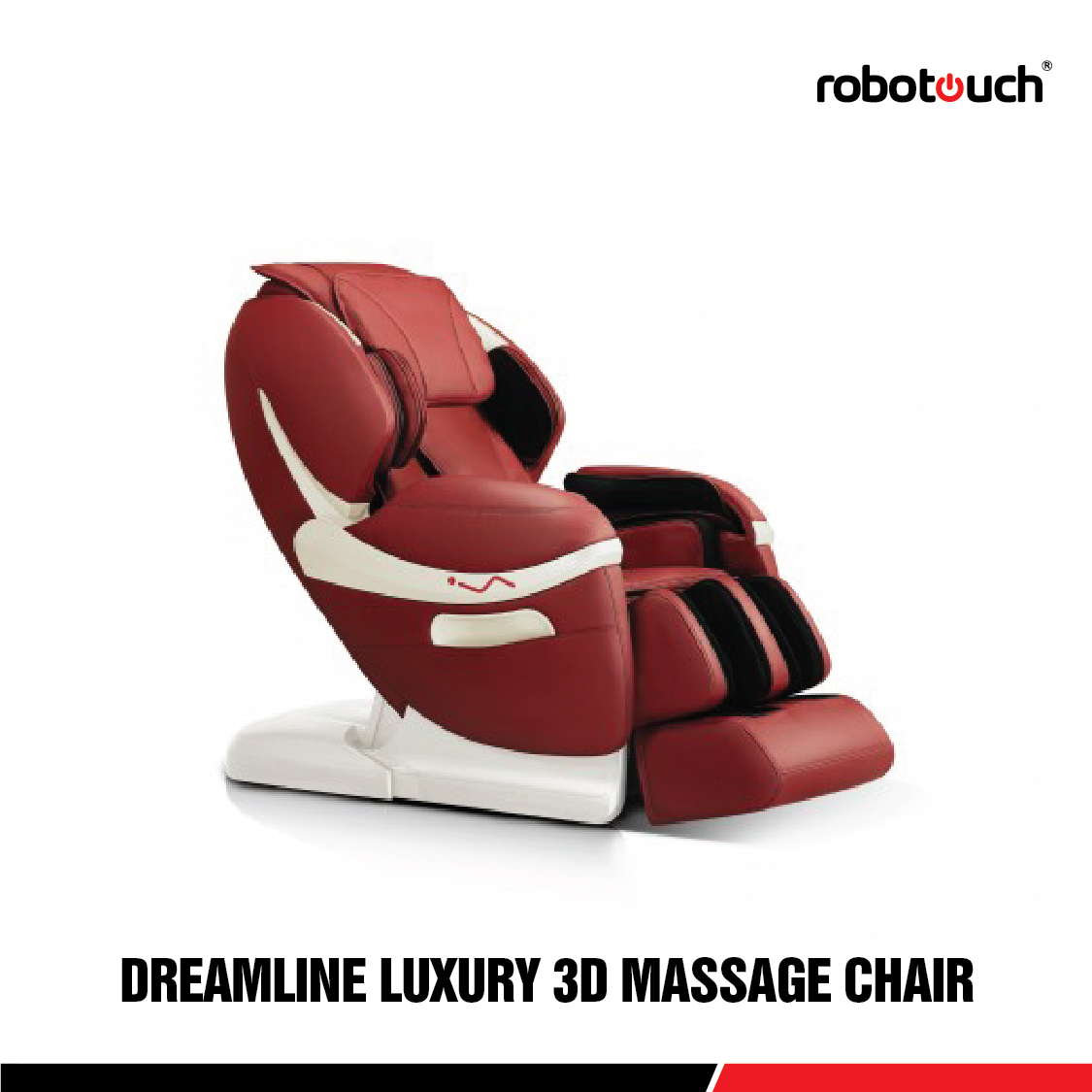 Robotouch Dreamline Intelligent 3-D Zero Gravity Massage Chair With Bluetooth, Android/IOS App, Magnetic Therapy - New Full Featured Luxury Shiatsu Chair - Color Rose Red.-0