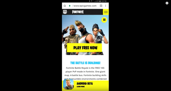 Fortnite is not yet available in the mobile app stores