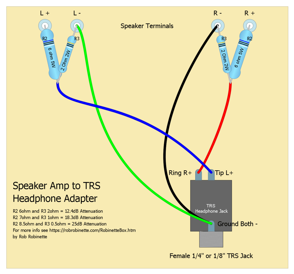 medium resolution of basic speaker amp to headphone adapter single ended trs