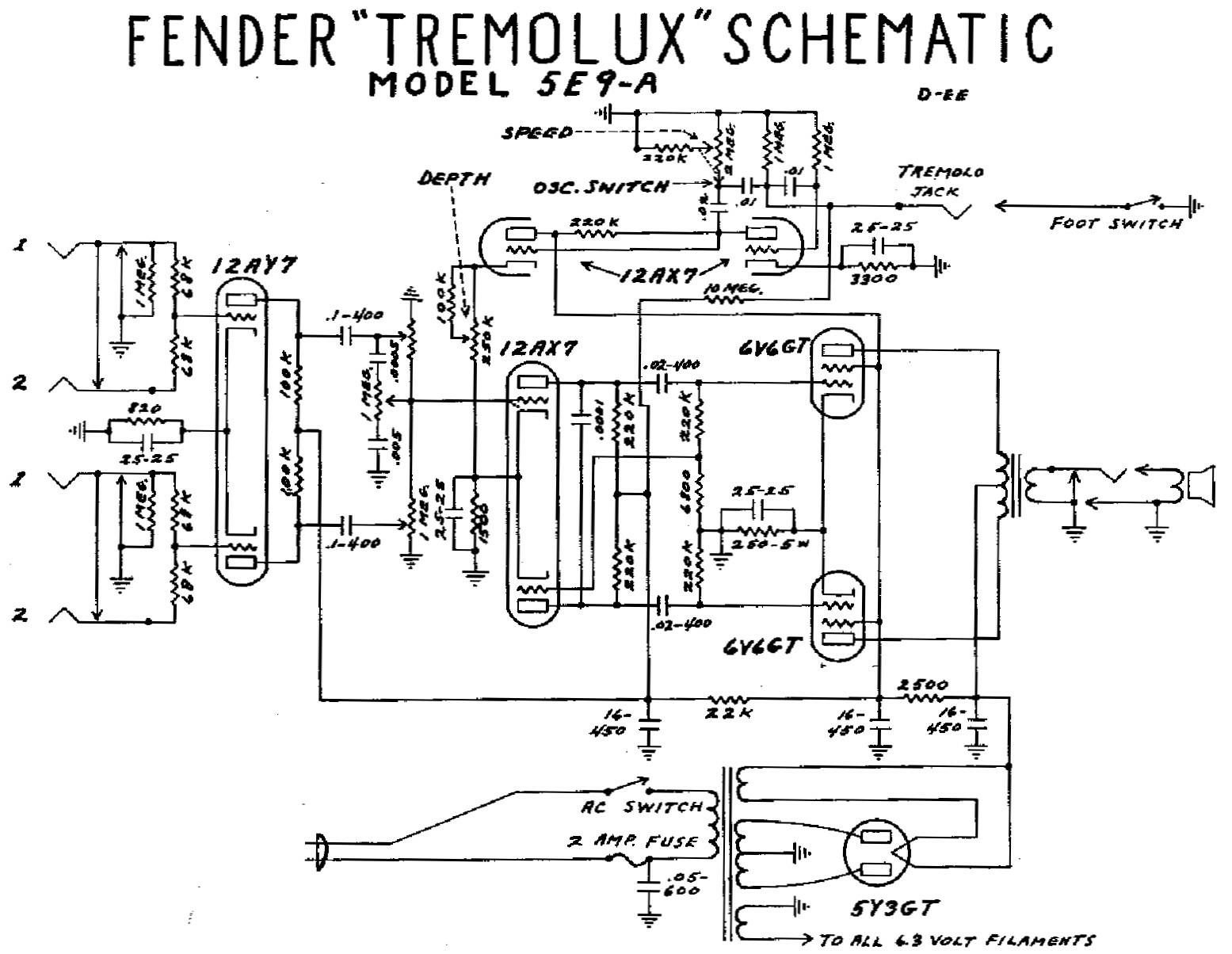 Fender Champ Wiring Diagram Fender Deluxe 5E3 Circuit