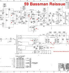 red arrows show changes from the original 5f6 a bassman schematic the 100k tone slope resistor 1uf bass tone cap and presence circuit match how most  [ 2565 x 1703 Pixel ]