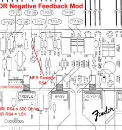 for the 65 deluxe reverb reissue 68 custom deluxe reverb the negative feedback resistor is r64 it is 820 ohms for the 65 and 1 5k for the 68  [ 1200 x 686 Pixel ]
