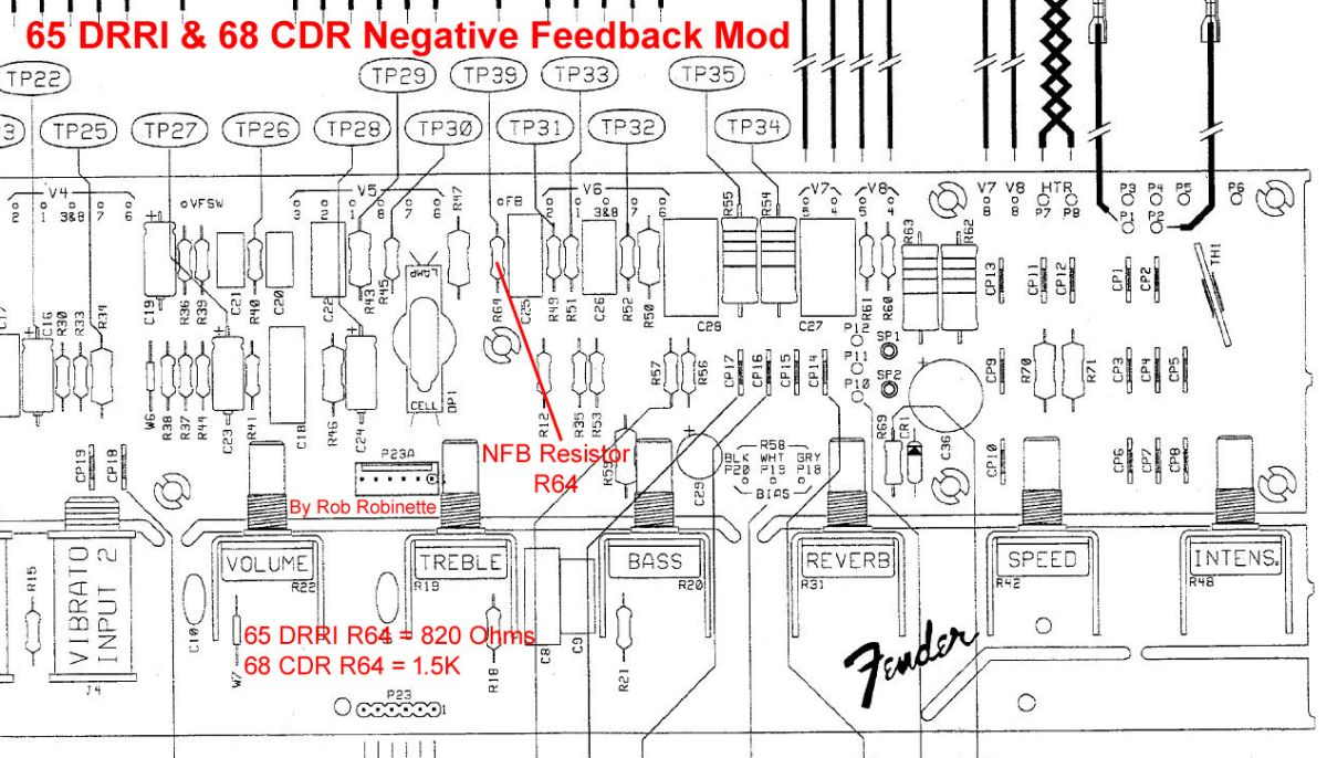 hight resolution of for the 65 deluxe reverb reissue 68 custom deluxe reverb the negative feedback resistor is r64 it is 820 ohms for the 65 and 1 5k for the 68