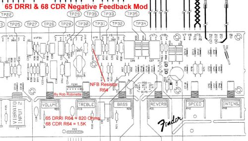 small resolution of for the 65 deluxe reverb reissue 68 custom deluxe reverb the negative feedback resistor is r64 it is 820 ohms for the 65 and 1 5k for the 68