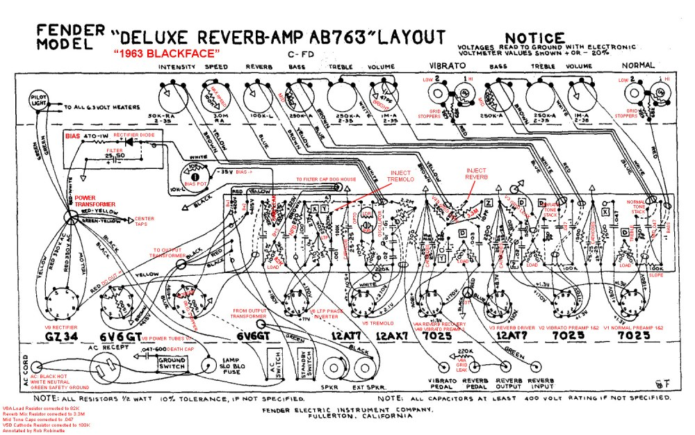 medium resolution of ab763 deluxe reverb layout with annotations