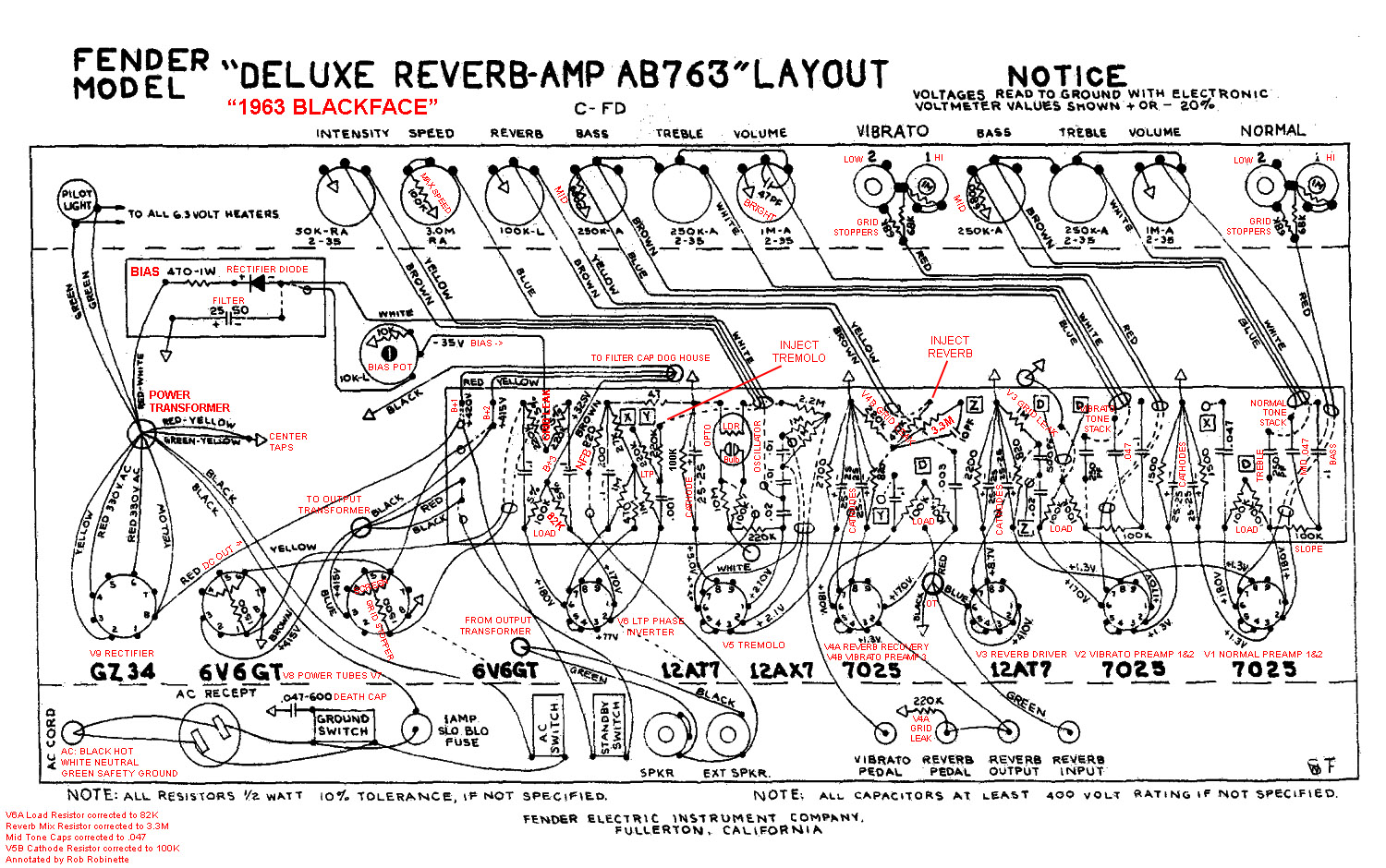 hight resolution of ab763 deluxe reverb layout with annotations