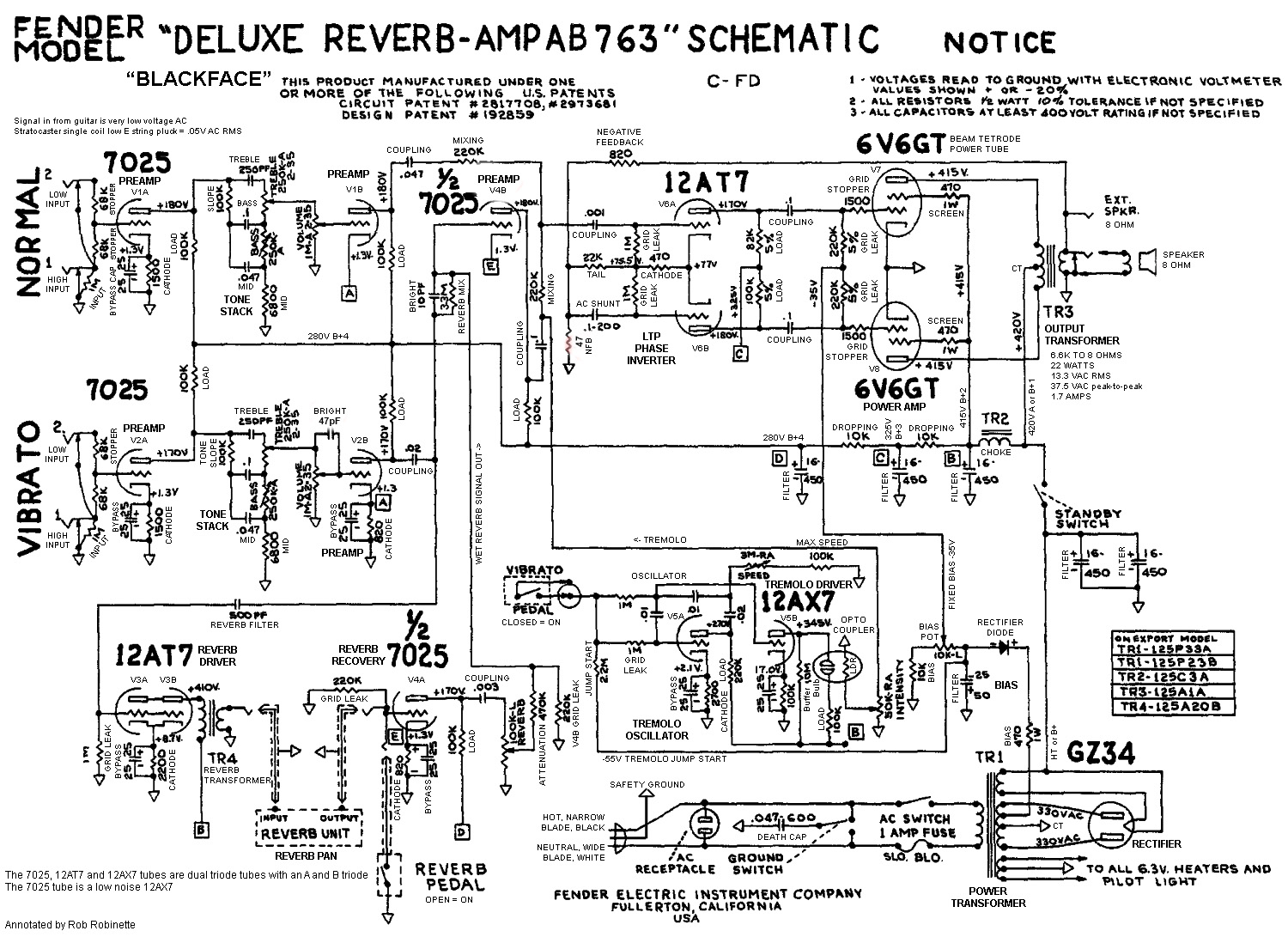 hight resolution of the ab763 deluxe reverb schematic with annotations