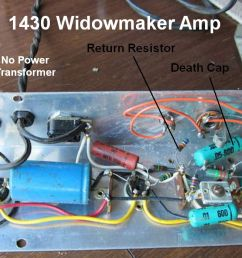after adding an isolation transformer and three prong power cord we can replace the death cap and return resistor with a jumper wire to unify the amp  [ 1180 x 698 Pixel ]