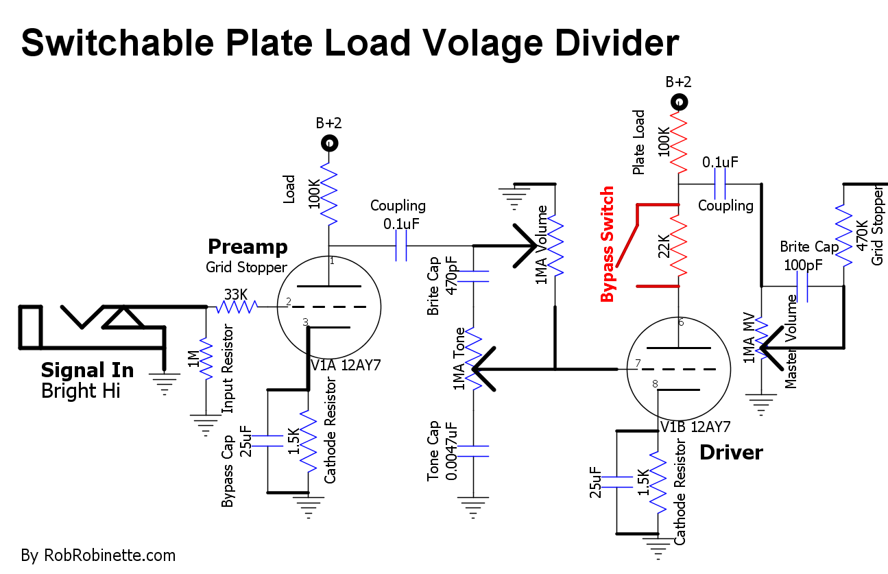 hight resolution of with the switch open the 100k plate load resistor and 22k resistor form a voltage divider to cut 18 of the signal coming off the v1b plate