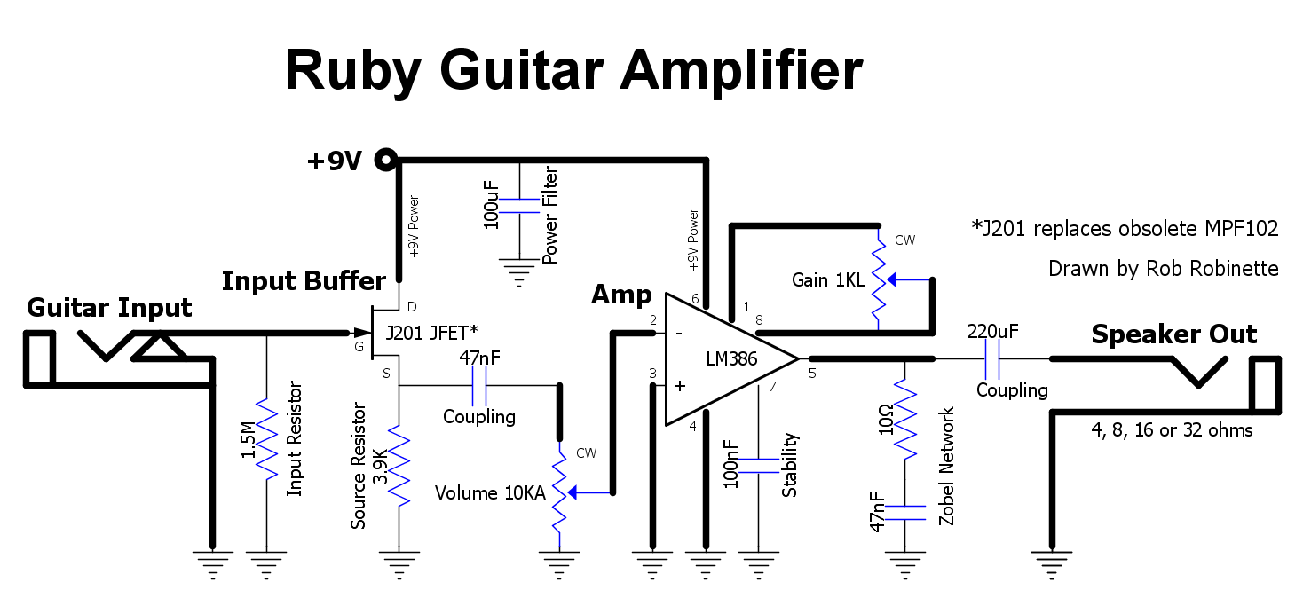 Guitar Amp Schematic Diagram Schematics General Gadgets Http Elektrotanyacom Crateflexwaveguitaramppdfpdf Hight Resolution Of The J201 Jfet Junction Gate Field Effect Transistor Is An Input Buffer And