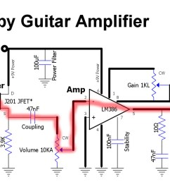 guitar signal enters at the input jack at far left and flows directly to the transistor s gate where it controls the flow of current through the transistor  [ 1468 x 674 Pixel ]