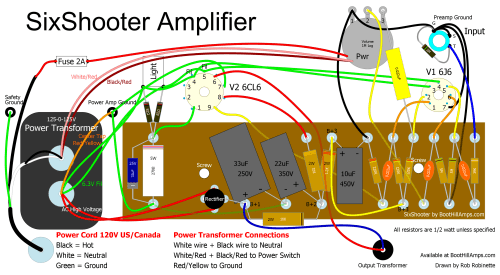 small resolution of sixshooter sixshooter layout 120v sixshooter tube amp wiring diagram at cita asia
