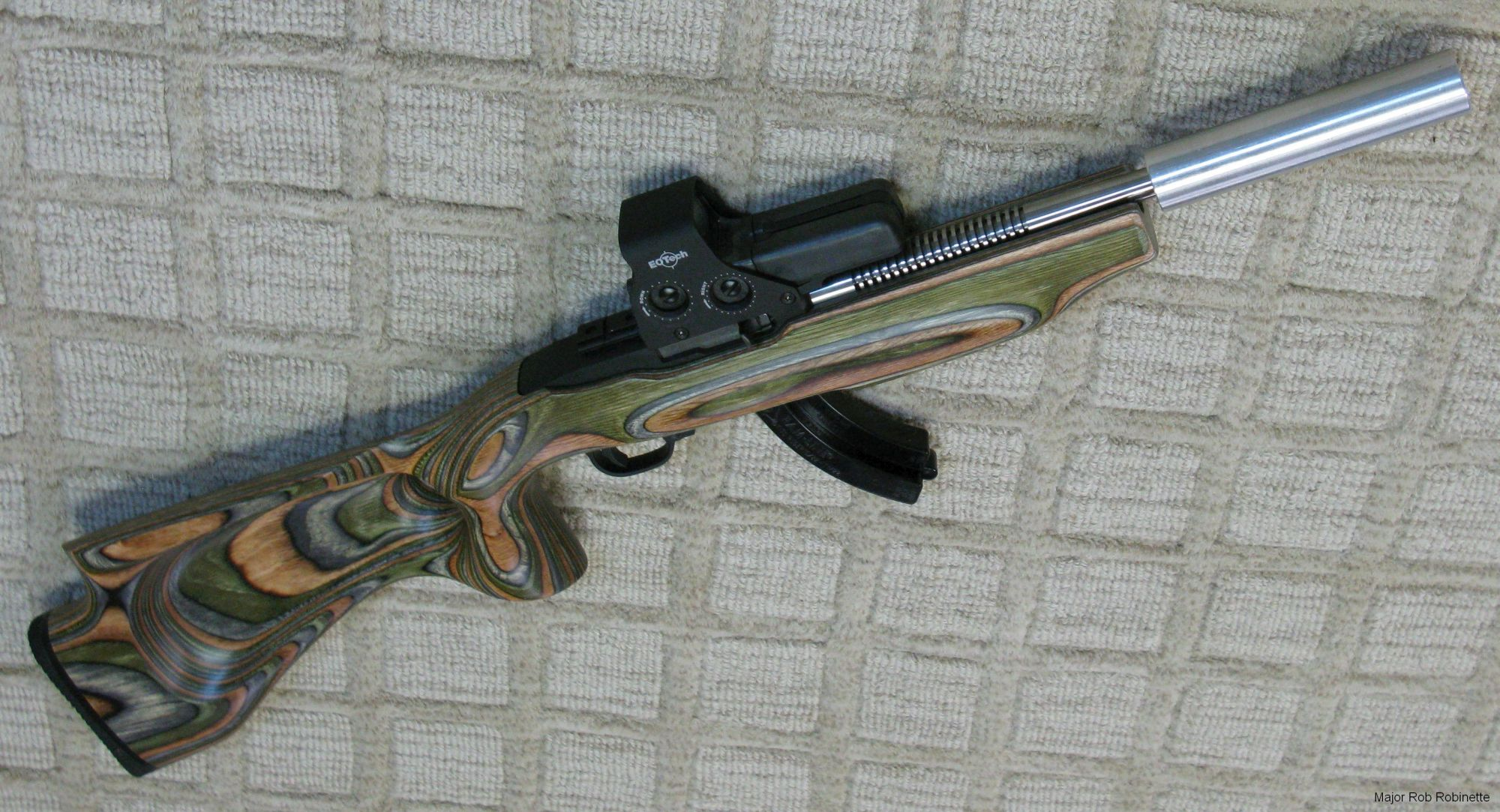 hight resolution of this is a shorter 6 inch long by 1 1 4 inch 22 suppressor i made with form 1 tax stamp mounted on my nfa registered short barreled rifle ruger 10 22 with