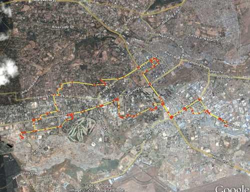 google map of my monday drive