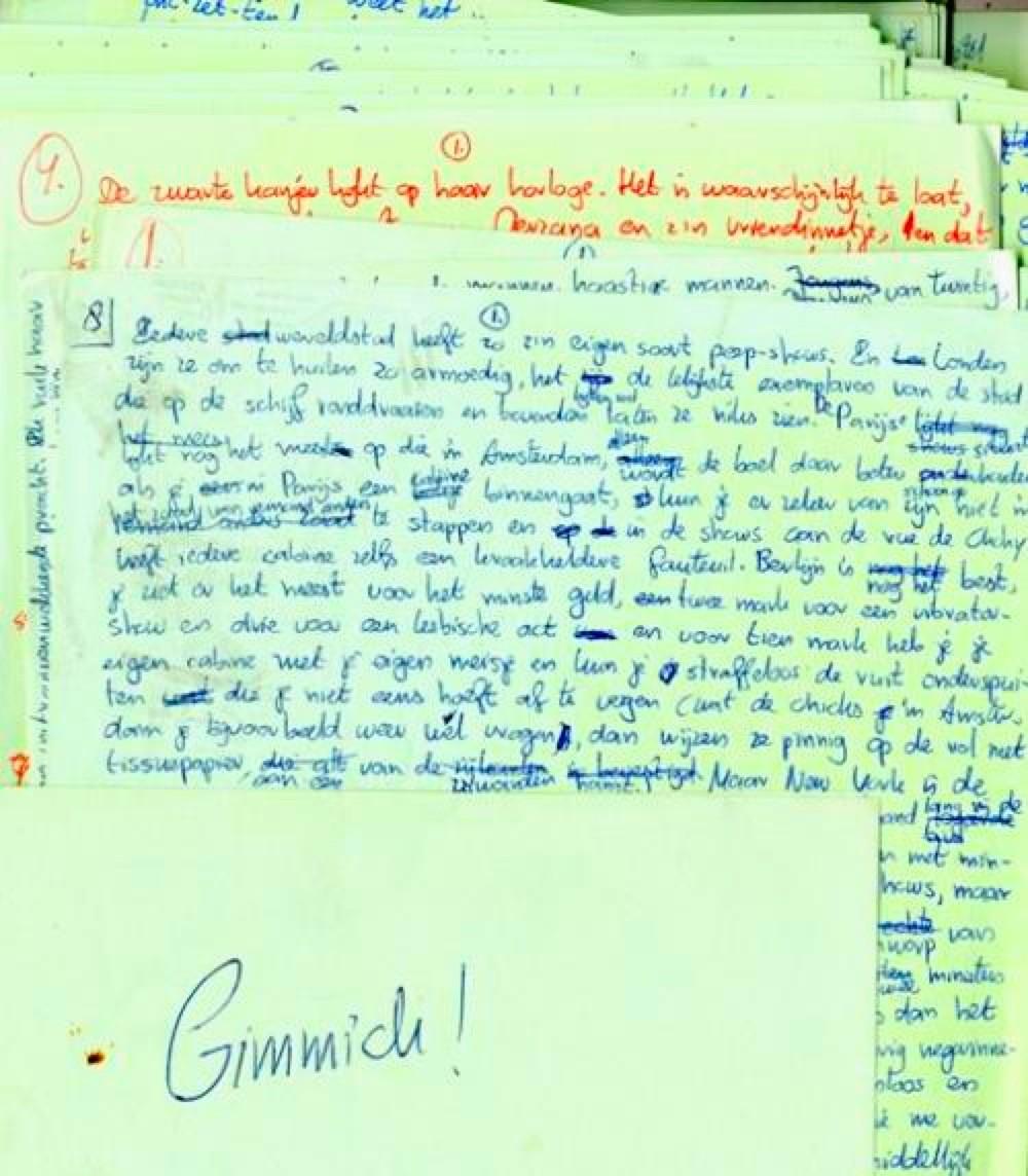 Manuscript Gimmick van Joost Zwagerman in het Letterkundig Museum