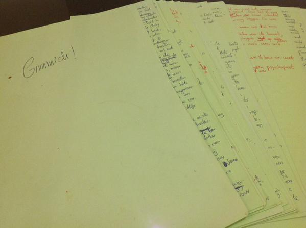 Manuscript van 'Gimmick!' 1