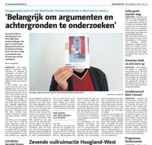 Marian Vreugdenhil - 'Belangrijk om argumenten en achtergronden te onderzoeken', Amersfoort Nu, 20 maart 2013