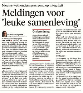 Bo-Anne van Egmond - Meldingen voor een 'leuke' samenleving, Helderse Courant, 16 december 2017