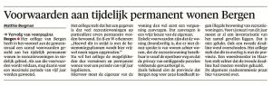 Matthie Berman - Voorwaarden aan tijdelijk permanent wonen, Alkmaarse Courant, 11 januari 2018