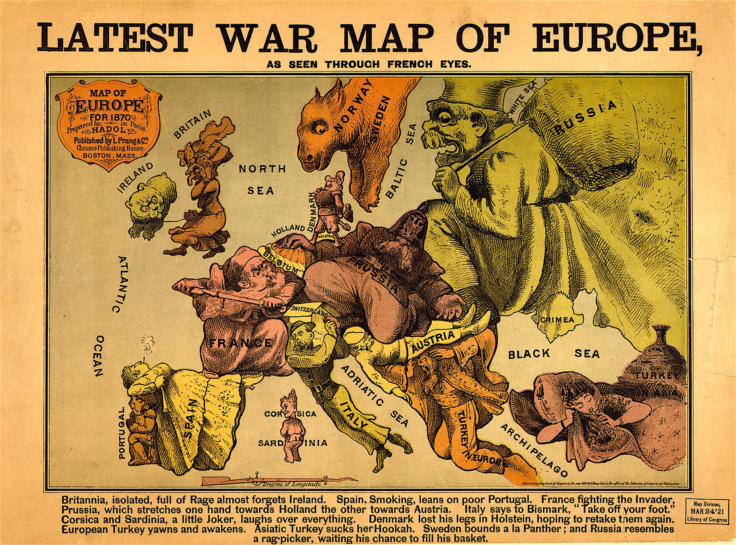 Latest War Map of Europe as seen through French eyes (1870, foto Wikipedia)
