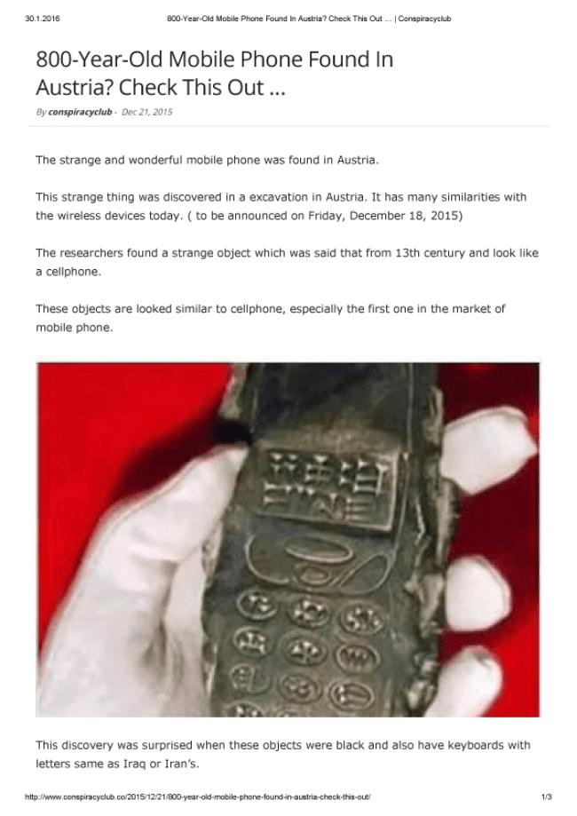Screenshot van Conspiracy Club Artikel (foto Babylonokia)