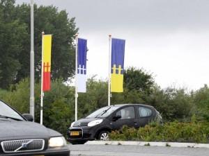 De banners bij de rotonde (foto NHD)