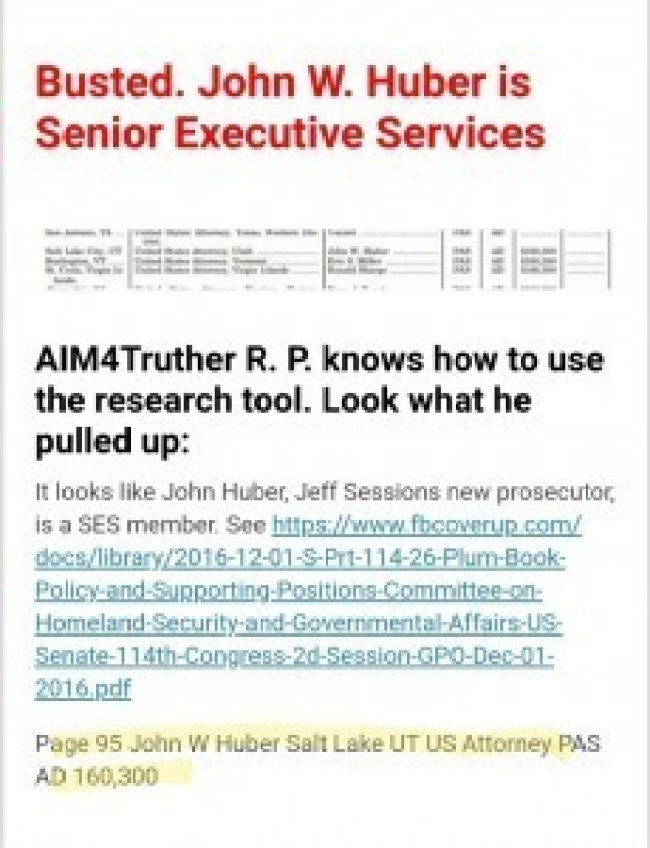 Busted! John W. Huber is Senior Executive Service (foto Before It's News)