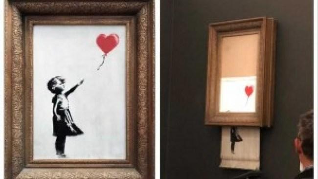 Het schilderij 'Meisje met de ballon' is net verkocht voor zo'n 1,2 miljoen euro als het zichzelf door de schredder haalt (foto Sotheby's) 2