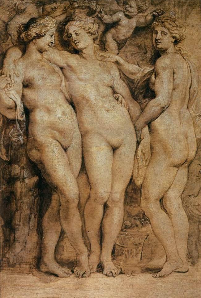 Peter Paul Rubens - De drie Gratiën (olieverf op paneel)