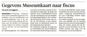 NHD - Gegevens Museumkaart naar de fiscus, NHD, 16 november 2018