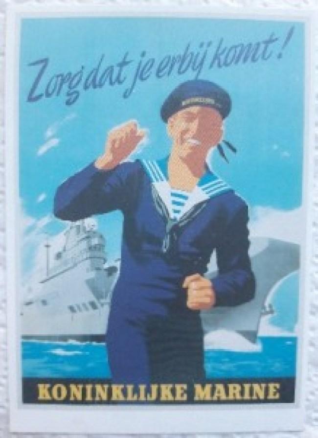 Poster oproep om bij Marine te gaan, Zorg dat je er bij komt, zo zag de schrijver van dit verhaal er ongeveer uit in 1970 (foto Solidariteit)