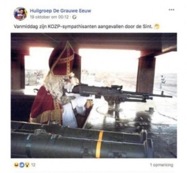 Sinterklaas met een vuurwapen (Huilgroep De Grauwe Eeuw:Facebook)