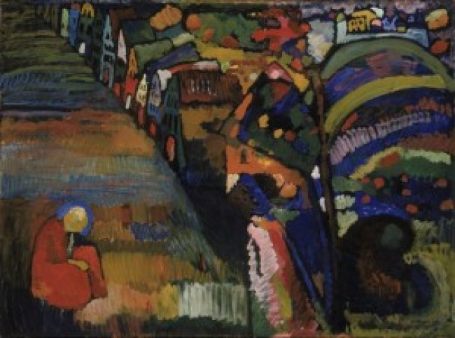 "Wassily Kandinsky's ""Picture With Houses"" in the Stedelijk Museum was identified as having a questionable provenance (foto Wassily Kandinsky/Artists Rights Society(ARS)/Stedelijk Museum/Pictoright)"