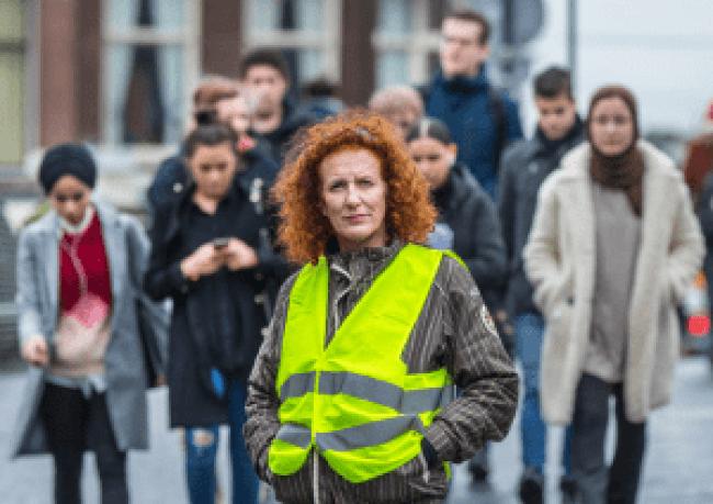 Ingeborg Westerhoff, een van de initiatiefnemers van de Gele Hesjes in Nederland. © Frank Jansen