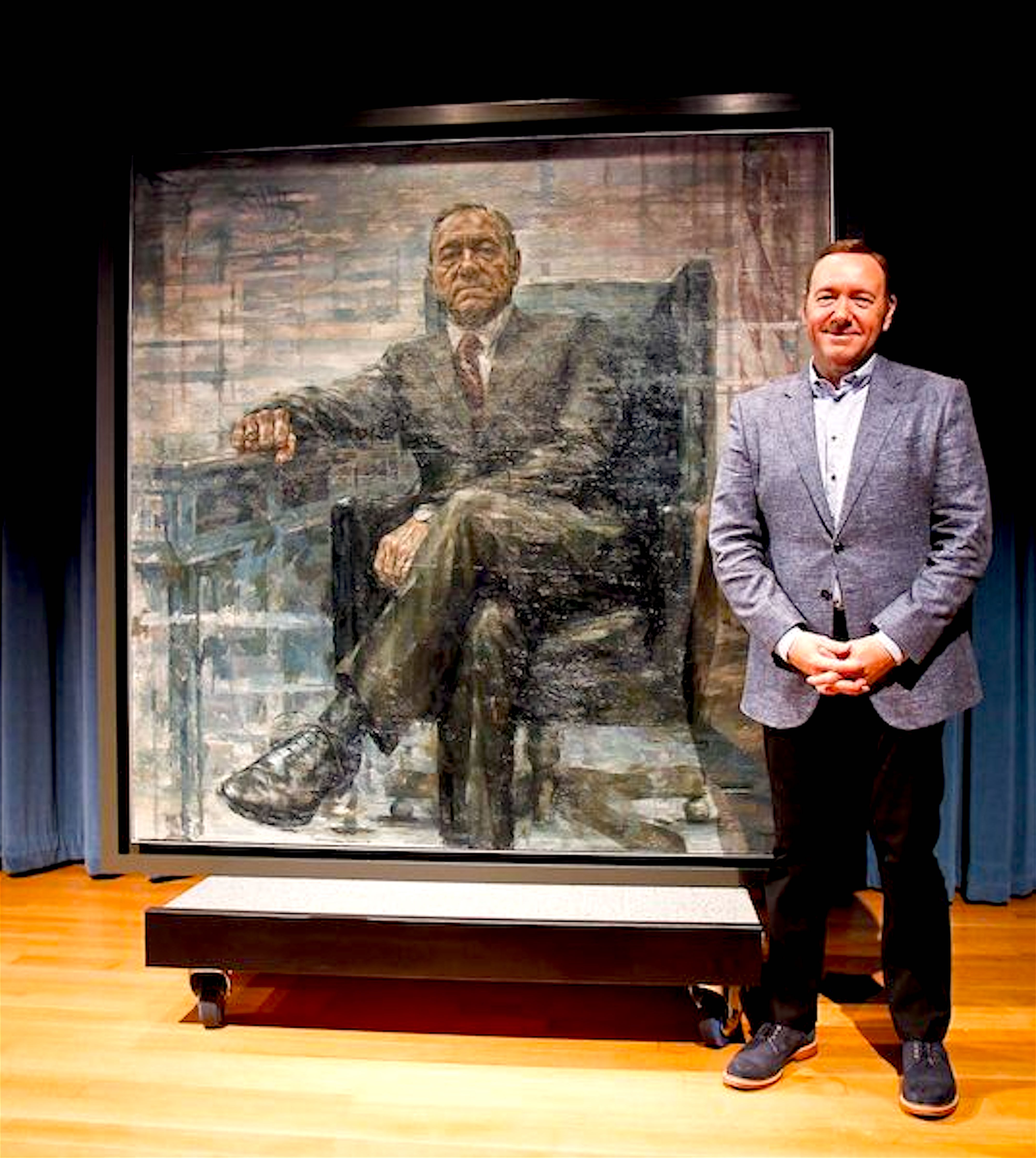 Kevin Spacey with Kevin Spacey as President Francis J. Underwood by Jonathan Yeo (foto Paul Morigi:National Portrait Gallery)