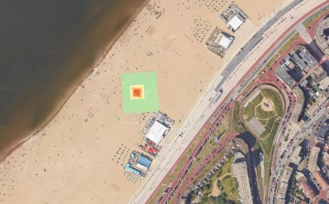 De positie van het 3D model van de brandstapel van Scheveningen, geprojecteerd op Google Maps