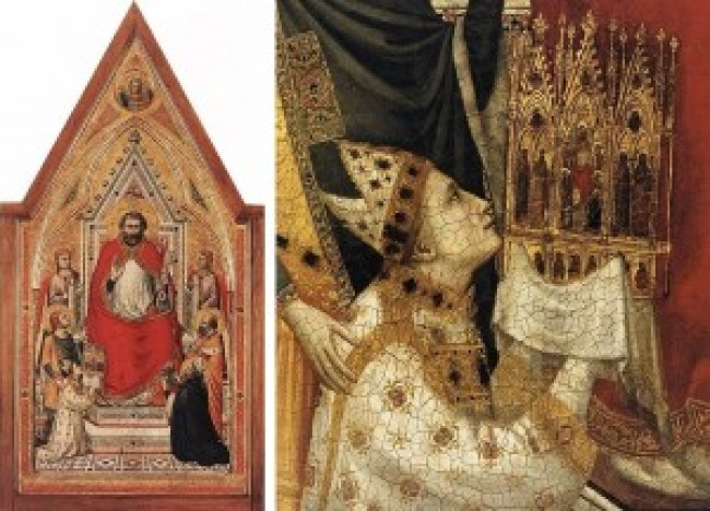 Giotto - The Stefaneschi Triptych: St. Peter Enthroned (ca. 1330) Right: detail of the panel (foto Wikimedia Commons)