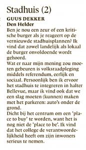 Guus Dekker - Stadhuis, Helderse Courant, 25 januari 2019