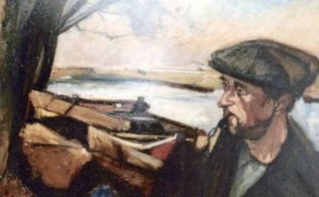 Piet van Wijngaerdt - Boer in landschap met roeiboten