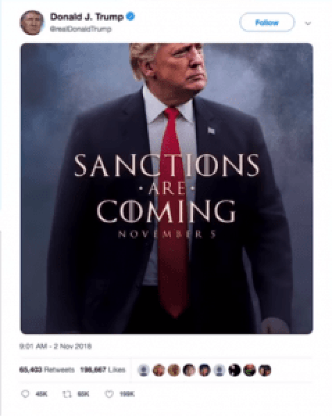 Trump Twitter - Sanctions are coming