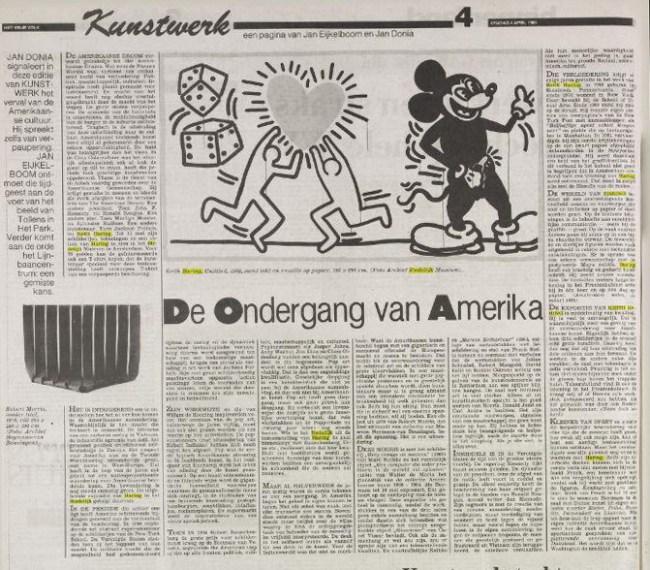 Jan Donia - De ondergang van Amerika, Het Vrije Volk, 10 April 1986