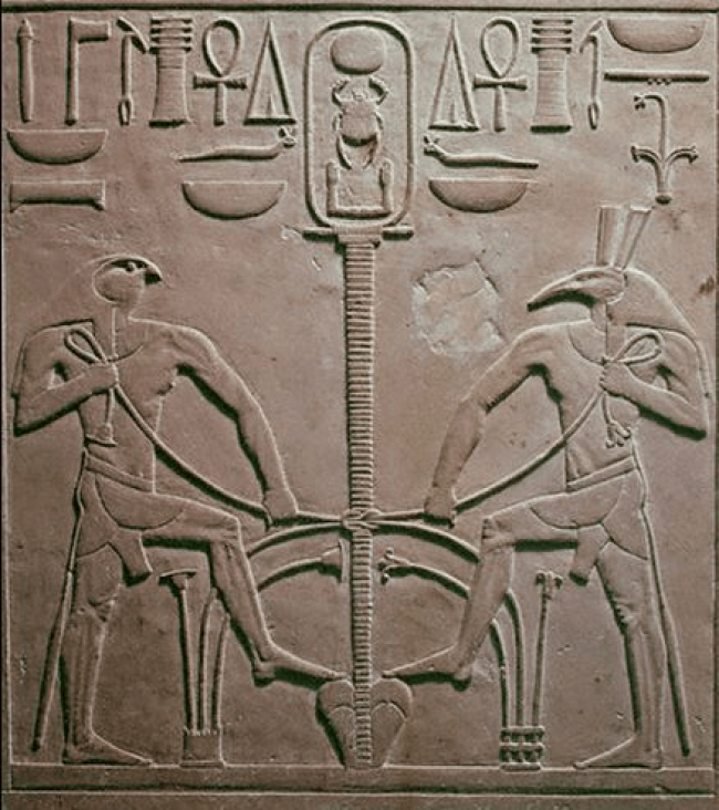 Horus and Seth pacified performing the Sema-Tawy Ritual (lotus and papyrus entwined, the Union of the Two Lands, Upper and Lower Egypt)
